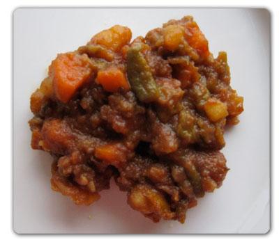 Antipasto caldo di peperoni, patate e carote