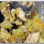 Teglia di patate, zucca, olive e sgombro
