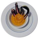 Zuppa di zucca piccante con radicchio