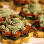 Alberelli tricolore con spuma di spinaci